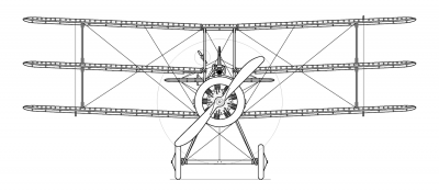 Sopwith Triplane Blueprint - Front View