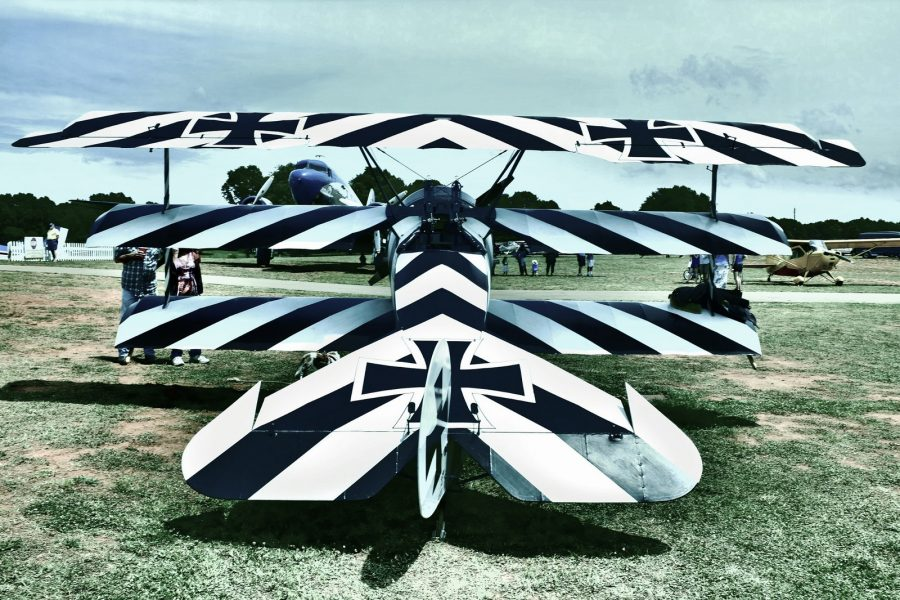 Replica Dr.1 in a Black and White Striped Livery