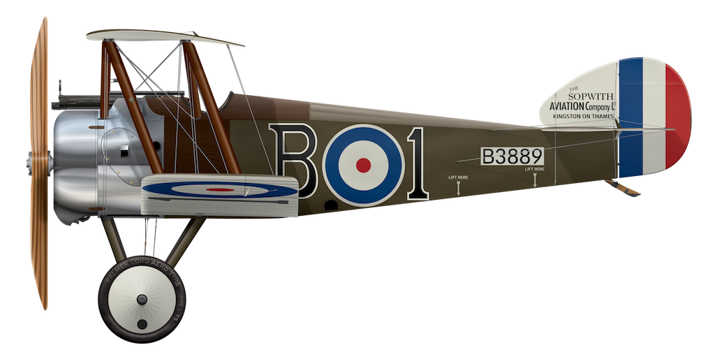Sopwith Camel B3889 - Side Profile View