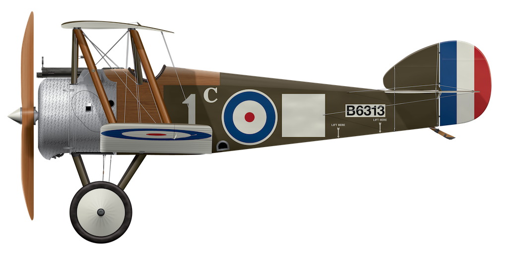 Sopwith Camel B6313 - Oct 1917 Side Profile View