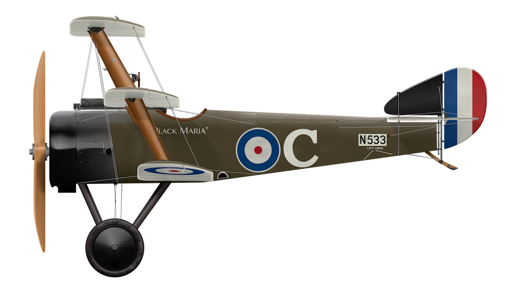 Sopwith Triplane N533 Black Maria - Side Profile View