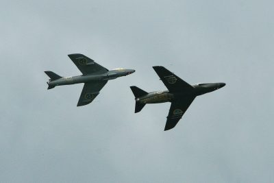 Saab Lansen and Hawker Hunter in Formation