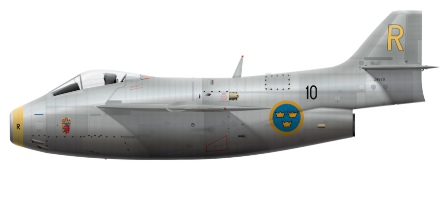 Saab J 29A Tunnan - 29670 Side Profile View
