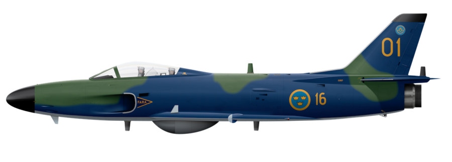 Saab J32E Lansen - 32507 Side Profile View