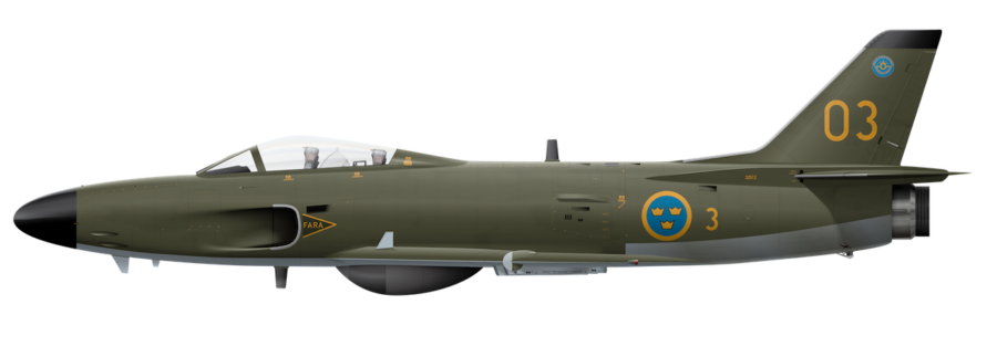 Saab J32E Lansen - 32512 - Side Profile View