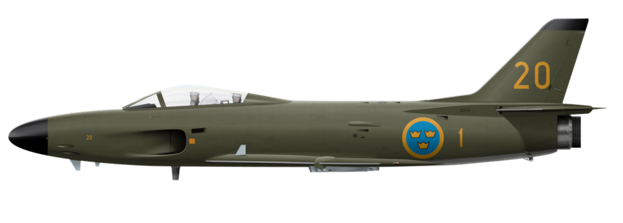 Saab J32E Lansen - 32620 - Side Profile View