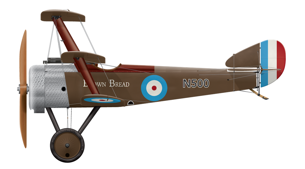 Sopwith Triplane Prototype N500 - Brown Bread - Side Profile View