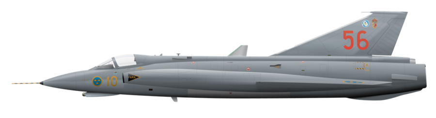 Saab J35J Draken - 35556 - Side Profile View