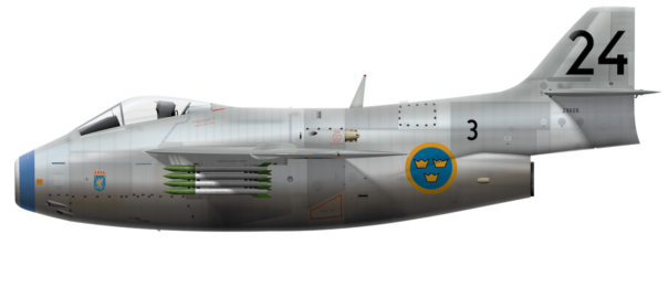 Saab J 29A Tunnan - 29606 Side Profile View