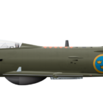 Saab Lansen J32D - 32606 Side Profile View