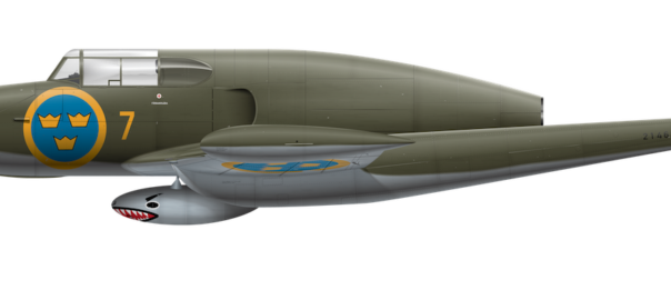 Saab J 21R - 21463 w/ Gun Pod Side Profile View