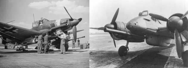 A Ju-87G and a HS-129, the German dedicated tank busters
