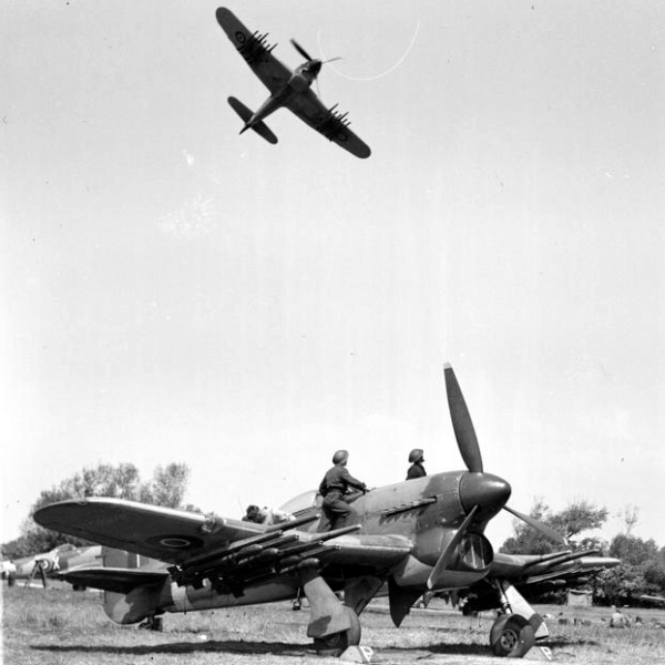 A Hawker Typhoon armed with rockets and 20 mm cannons