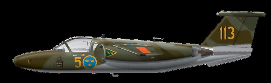 Saab sk60A - F 5 Ljungbyhed - 60113 Side Profile View